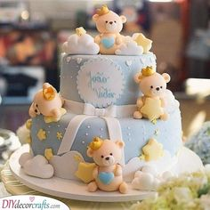 Baby Boy Cake ideas for Baby Shower and Baptism. Baby Bears on an Aerostatic Balloon & TrainThe Golden Cake, Bakery & Events Torta Baby Shower, Baby Shower Cakes For Boys, Baby Boy Cakes, Teddy Bear Baby Shower, Cake For Baptism Boy, Toddler Birthday Cakes, First Birthday Cakes, 1st Boy Birthday, Bolo Fack