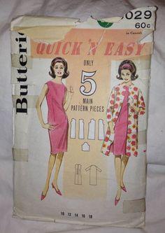 Butterick 3029  Sizw 14 1960's Vintage