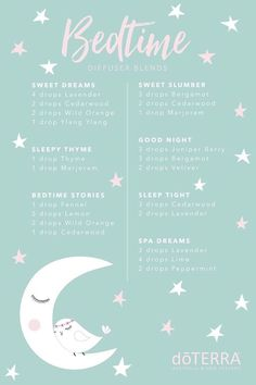 Bedtime diffuser blends with essential oils - Aromatherapie - Essential oil diffuser blends to support restful sleep. DoTERRA diffuser re - Sleeping Essential Oil Blends, Essential Oils For Babies, Essential Oils Guide, Essential Oil Diffuser Blends, Doterra Essential Oils, Doterra Diffuser, Doterra Blends, Essential Oils Sleep Blend, Essential Oil Insomnia