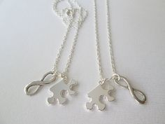 2 Puzzle Piece and Infinity, Best Friend Necklaces