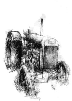 Old tractor, Artist Sean Briggs producing a sketch a day, prints available at https://www.etsy.com/uk/shop/SketchyLife  ##artist ##engine ##illustration#ink#print#draw #art #drawing #sketch #tractor