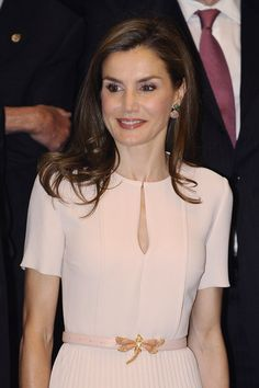 22 June 2017 - Queen Letizia and King Felipe attend a meeting of the RAE -dress by Hugo Boss, belt by Uterque