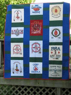 T-shirt quilt I made using my son's boy scout shirts
