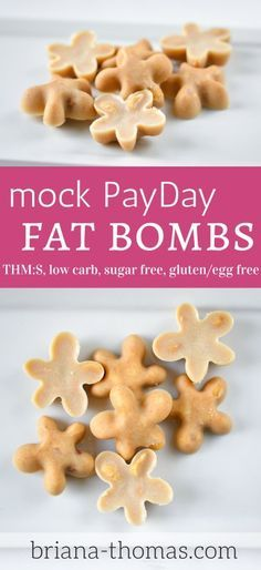 These Mock PayDay Fat Bombs are THM:S, low carb, sugar free, and gluten/egg free!