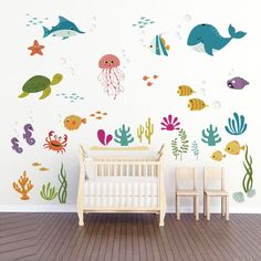 da2857d179 decalmile Under The Sea Dolphin Fish Wall Stickers Kids Room Wall Decor  Vinyl Peel and Stick