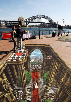 6 September 2011: 3D interactive art featuring the Royal Wedding on display as part of the VisitBritain tourism campaign in Sydney, Australia