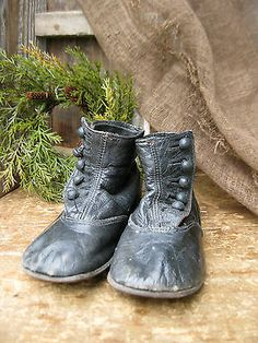 Antique Black Leather High Button Baby Shoes