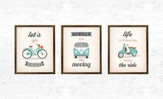 Set of 3 prints. 3 motivational quote prints. To live is to keep moving Let's…