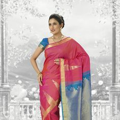 Pink and Teal Blue Pure kanchipuram Handloom Silk Saree with Blouse