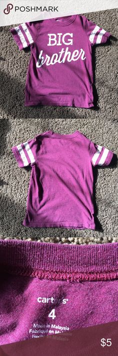 """Carter's """"Big Brother"""" tshirt Maroon Carters """"big brother"""" tshirt. Been wore but still in really good condition. No holes or stains. Carter's Shirts & Tops Tees - Short Sleeve"""