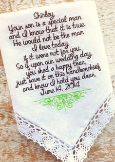 Mother in Law from Bride Wedding heirloom handkerchief custom embroidered personalized hankie gift embroidery parents