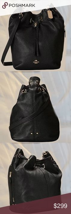 "Coach 34988 Liden Turnlock Tie Bucket Bag Mint condition includes dust bag, carried once for a fashion show. This Black leather with gold tone hardware bag cinches closed with slender ties secured by a petite turnlock. It's hand finished edge painted strap can be left long for cross body style or doubled up for shoulder wear.  Coach dust bag included.   Inside zip, cell phone and multifunction pockets  Outside zip pocket Strap  21"" drop for cross body wear converts to double strap for…"