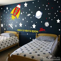 Baby Space Rocket Ship Wall Decal Planets Rockets Galaxy – Stars Boys Room Outer… Baby Space Rocket Ship Wall Decal Planets Rockets Galaxy – Stars Boys Room Outer Space Wall Decals – Custom Name – Vinyl Wall Decals Sticker Kids Wall Decor, Boys Bedroom Decor, Room Wall Decor, Bedroom Themes, Bedroom Night, Bedroom Ideas, Custom Wall Decals, Nursery Wall Decals, Owl Nursery