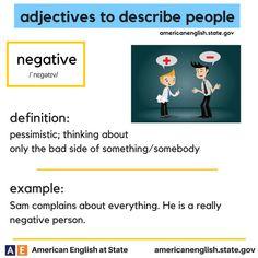 adjectives to describe people: negative English Adjectives, English Idioms, English Words, English Lessons, Learn English, English Grammar, English Language, English Vinglish, English Tips