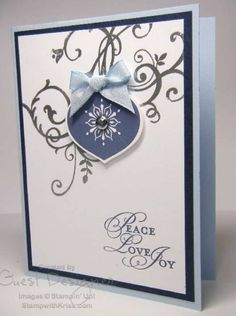 Stampin' Up! peacelovejoy Christmas ornament card by Kriss Huels