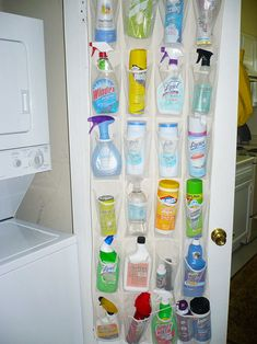 Use A Hanging Shoe Rack To Store Cleaning Supplies And Keep Them Away From Children