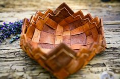 Natural woven Birch bark decorative basket by ArtseedVintage