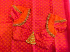 orsnge pink n red Saree Blouse Neck Designs, Simple Blouse Designs, Saree Blouse Patterns, Designer Blouse Patterns, Mirror Work Blouse, Blouse Desings, Sumo, Blouse Models, Sarees