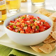 Garden Salsa Recipe -In this recipe, ripe garden ingredients and subtle seasonings make a mouthwatering salsa that's a real summer treat. —Michelle Beran, Caflin, Kansas
