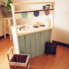 margueriteさんの、カラーボックス,DIY,ハンドメイド,カフェ風,ナチュラル,子供コーナー,おままごとキッチン,セリア,キッチン,のお部屋写真