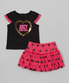Love this Black & Pink Cap-Sleeve Tee & Skirt - Infant & Toddler by Juicy Couture on #zulily! #zulilyfinds