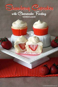 Surprise Strawberry Cupcakes with Cheesecake Frosting #cupcakerecipes nice with fresh cream