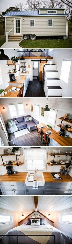 This tiny house uses mist grey LP smart side siding, Azek exterior trim,. This tiny house uses mist grey LP smart side siding, Azek exterior trim, and a blue Galvalume metal roofing for a maintenance free exterior. Tyni House, Tiny House Living, Bus Living, Living Area, Living Room, Tiny House Movement, Tiny House Plans, Tiny House On Wheels, Interior Design Minimalist