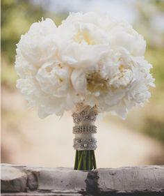 Glam Wedding Bouquet Of White Peonies Wedding Events, Our Wedding, Dream Wedding, Weddings, Bling Wedding, Magical Wedding, Wedding Pins, Purple Wedding, White Peonies Bouquet