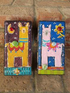 Two Llama Bricks, Garden Bricks, Painted Bricks Painted Bricks Crafts, Brick Crafts, Painted Pavers, Painted Rocks, Hand Painted, Landscape Bricks, Brick Edging, Brick Art, Brick Garden