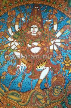Mayoogha Mural Painting arts gallery is online art gallery-Guruvayoor is an innovative initiative by Mural artist Sastrasarman Prasad. Shiva Art, Ganesha Art, Hindu Art, Kerala Mural Painting, Indian Art Paintings, Kalamkari Painting, Silk Painting, Ancient Indian Art, Pottery Painting