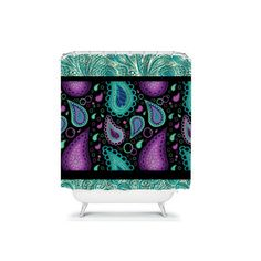Paisley Shower Curtain Purple Turquoise Aqua Lace by FolkandFunky