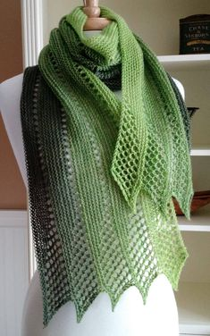 Knitting Pattern for Mistral Scarf - Lightweight lace scarf with eyelet mesh lace and zigzag edge. Rated easy by designer. Fingering weight yarn. Designed by Lavender Hill Knits