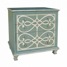 Blue Dresser with White Scrollwork Drawer Front Design  Four Drawer Dresser in Blue and White with Fluted Feet and Silver Toned Pulls