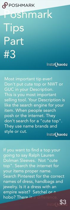 Poshmark Tips Part #3 Hope this helps. I have lots of tips. Just ask. Poshmark Other