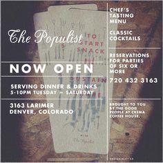 The Populist Denver. Best New Restaurants 2013 (5280 Magazine). and #12 5280 mag 2013.