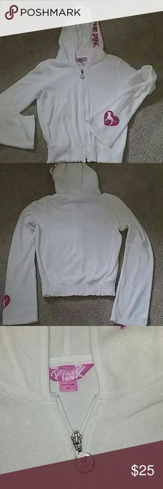 Victoria secret Terry full zip hoodie No stains only flaw is paint coming off zipper pull as pictured! Not many of these hoodies available! Victoria secret  Swim Coverups