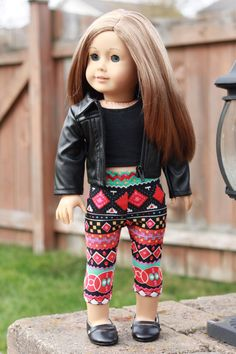 American Girl Doll Clothes - 18 Inch Tribal Geometric Crop Leggings