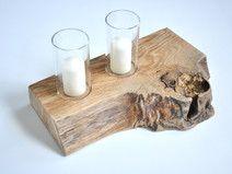 Świecznik ze szkłem - stary dąb sękaty