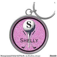 Monogrammed Girly Golf Tee Keychain Golf Accessories, Custom Buttons, Cute Pink, Keep It Cleaner, Holiday Cards, Cool Designs, Girly, Monogram, Personalized Items