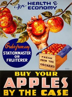 Buy Your Apples by the Case. Vintage fruit advertisement, circa 1935. #vintage #newzealand #advertising