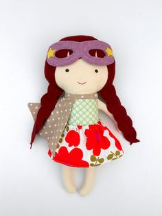 DOLL fabric doll superhero doll cloth doll dolls by LaLobaStudio