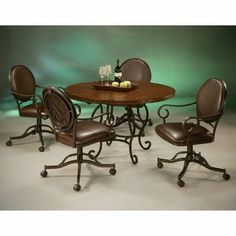 Atrium Elegant 5 Piece Copperstone Dining Set with Chair with Casters by Pastel Furniture. $1770.00. AT-514-Base / 809-Tabletop / IF-160-AR-945 Features: -Traditional style.-Hammered copperstone table top.-Chair has heavy duty swivel tilt mechanism for long lasting durability.-Casters for mobility. Includes: -Set includes dining table and four chairs with casters. Options: -Chair upholstered in Ford Brown fabric. Construction: -Metal construction. Color/Finish: ...
