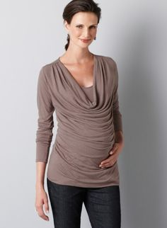 Loft Maternity Long Sleeve Drape Neck Top ($44.50) features flattering ruching and a draping neckline. Wear it easily with jeans.