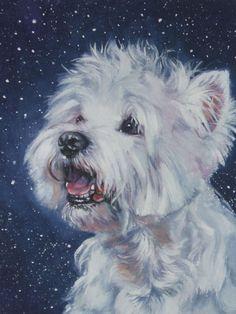 West Highland Terrier westie art print CANVAS print of LA Shepard painting 12x16 dog art. $39.99, via Etsy.