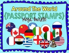 Passport Stamps -- MEGA PACK! 21 Countries/regions included! (To use along side my Country Study passport or during Christmas Around the World!)