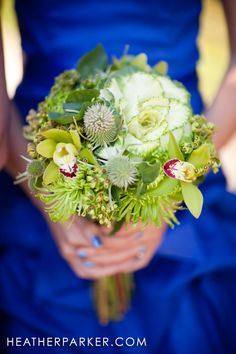 Green Flowers for Blue Bridesmaids