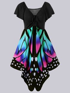 online shopping for EastLife Women's V Neck Short Sleeve Plus Size Empire Waist Lace Up Butterfly Print Dress from top store. See new offer for EastLife Women's V Neck Short Sleeve Plus Size Empire Waist Lace Up Butterfly Print Dress Fashion Mode, 50 Fashion, Plus Size Fashion, Womens Fashion, Cheap Fashion, Fashion Clothes, Affordable Fashion, Fashion Black, Curvy Fashion