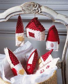 Sweet felt house christmas holiday ornaments. diy