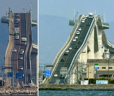 Eshima Ohashi bridge, Japan The bridge connects Sakaiminato and Matsue. It is about 1.7 km long, and 11.3 meters wide. From the far, the bridge seems impossible to climb. This height allows large ships to pass underneath.
