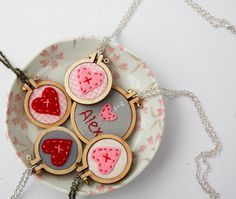 These mini hoop embroidered necklaces are so adorable. etsy dandelyne